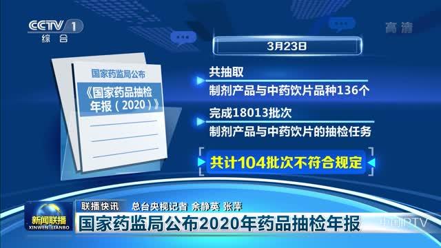【联播快讯】国家药监局公布2020年药品抽检年报