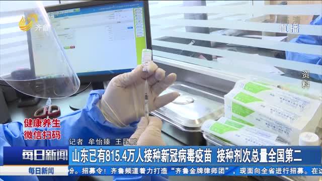 山东已有815.4万人接种新冠病毒疫苗 接种剂次总量全国第二