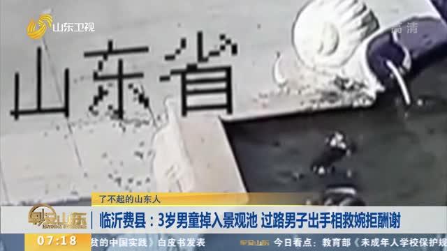 【了不起的山東人】臨沂費縣:3歲男童掉入景觀池 過路男子出手相救婉拒酬謝
