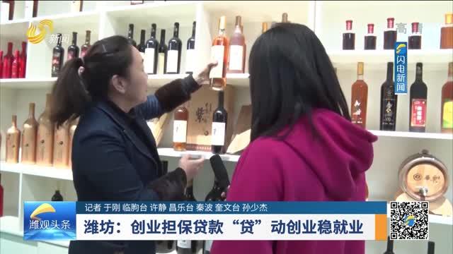 """潍坊:创业担保贷款 """"贷""""动创业稳就业"""