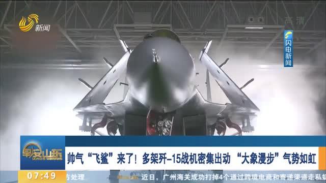 """帅气""""飞鲨""""来了!多架歼-15战机密集出动 """"大象漫步""""气势如虹"""