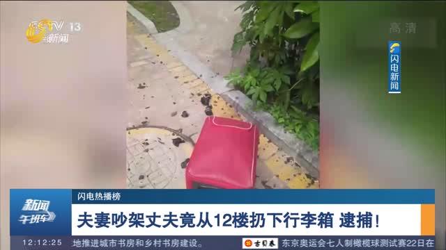 【闪电热播榜】夫妻吵架丈夫竟从12楼扔下行李箱 逮捕!