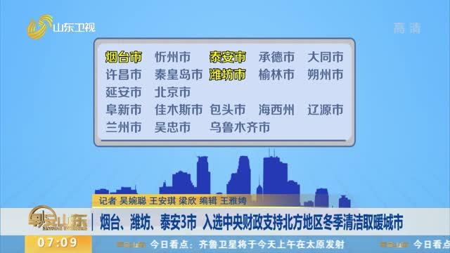 烟台、潍坊、泰安3市 入选中央财政支持北方地区冬季清洁取暖城市