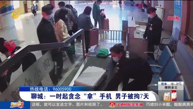 """聊城:一时起贪念""""拿""""手机 男子被拘7天"""
