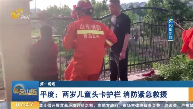 【第一现场】 平度:两岁儿童头卡护栏 消防紧急救援