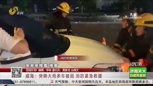 【现场60秒】威海:突降大雨多车被困 消防紧急救援