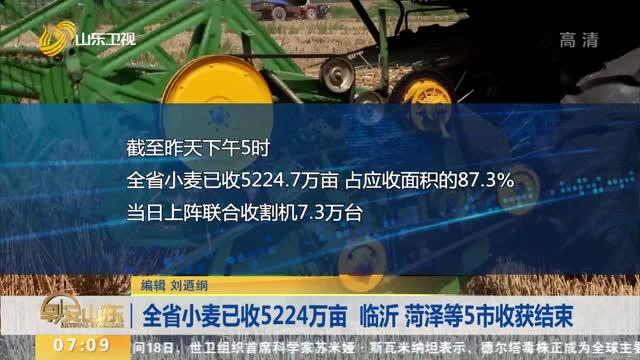 全省小麦已收5224万亩 临沂 菏泽等5市收获结束