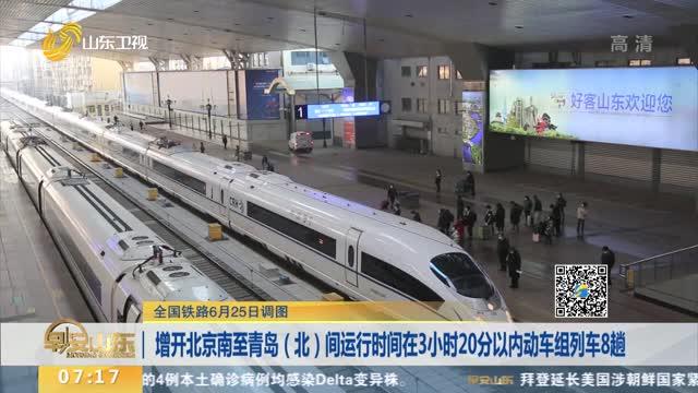 【全国铁路6月25日调图】增开北京南至青岛(北)间运行时间在3小时20分以内动车组列车8趟