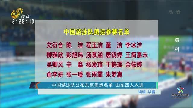中國游泳隊公布東京奧運名單 山東四人入選