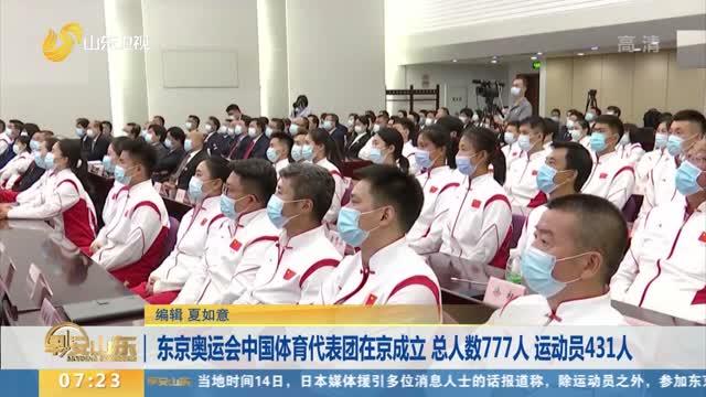 東京奧運會中國體育代表團在京成立 總人數777人 運動員431人