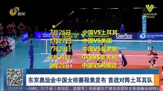 東京奧運會中國女排賽程表發布 首戰對陣土耳其隊