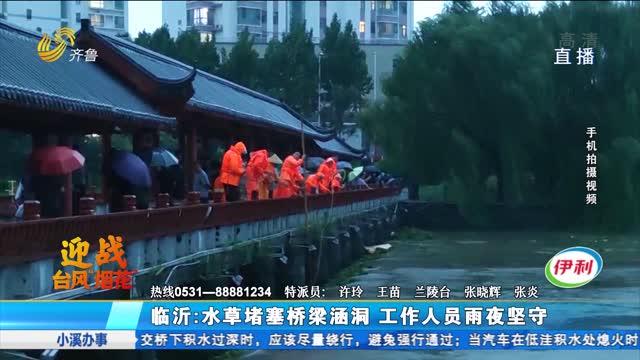 临沂:水草堵塞桥梁涵洞 工作人员雨夜坚守