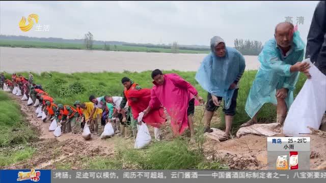 漳卫河冠县段大水漫滩 应急队上阵抗洪抢险