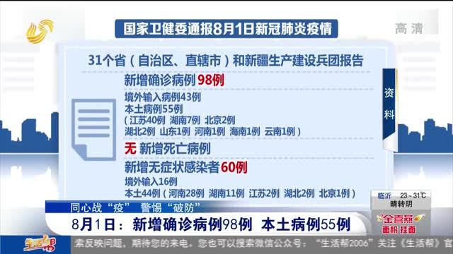8月1日:新增确诊病例98例 本土病例55例