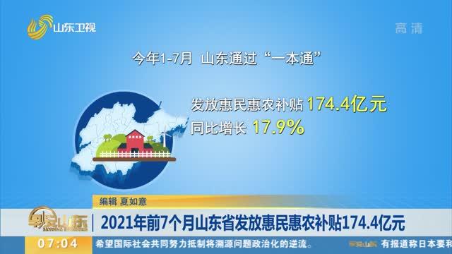 2021年前7個月山東省發放惠民惠農補貼174.4億元