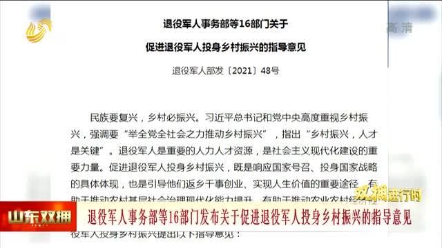 退役军人事务部等16部门发布关于促进退役军人投身乡村振兴的指导意见
