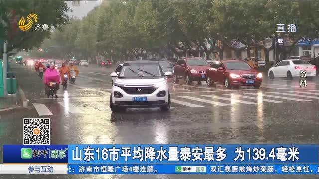 山东16市平均降水量泰安最多 为139.4毫米