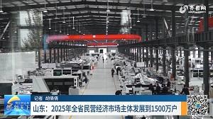 山东:2025年全省民营经济市场主体发展到1500万户
