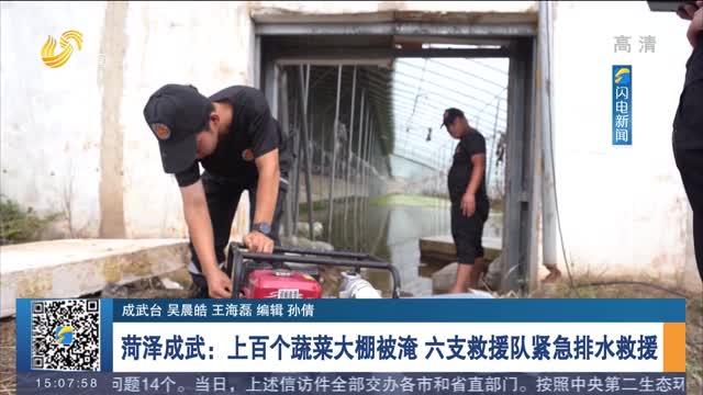 菏泽成武:上百个蔬菜大棚被淹 六支救援队紧急排水救援