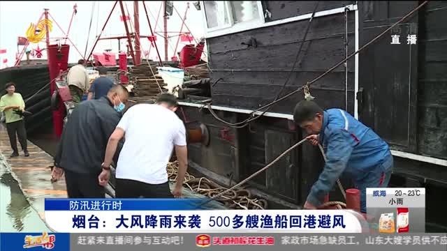 【防汛进行时】烟台:大风降雨来袭 500多艘渔船回港避风