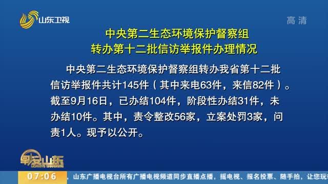 中央第二生态环境保护督察组转办第十二批信访举报件办理情况