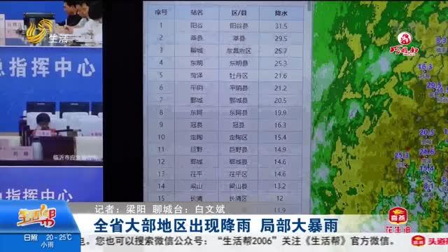 全省大部地区出现降雨 局部大暴雨