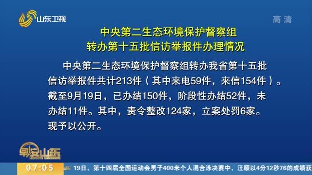 中央第二生态环境保护督察组转办第十五批信访举报件办理情况