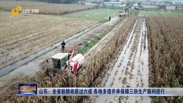 山东:全省秋粮收获过六成 各地多措并举保障三秋生产顺利进行
