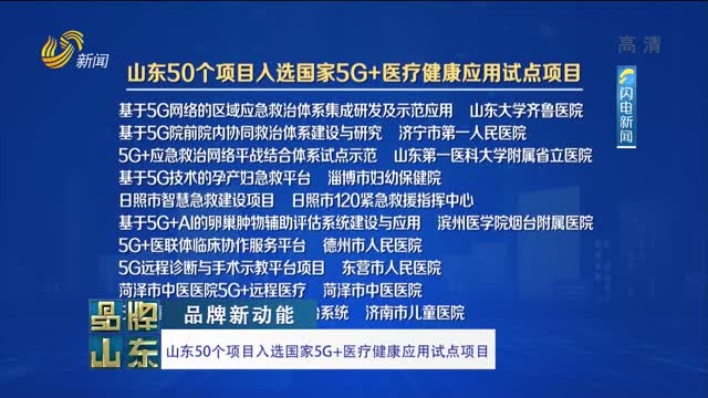 【品牌新动能】山东50个项目入选国家5G+医疗健康应用试点项目