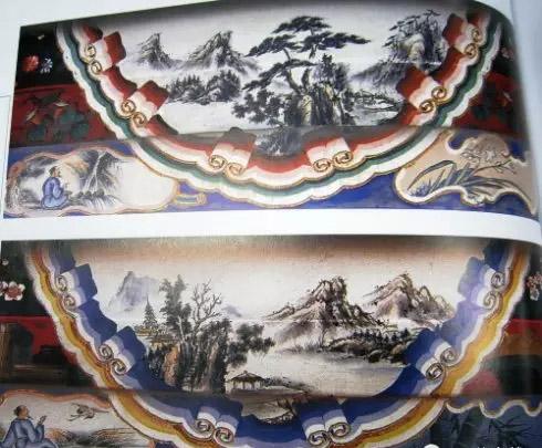 北京颐和园长廊苏式包袱彩画山水图片