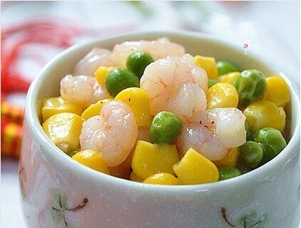 提高机体抗病玉米豌豆炒虾仁
