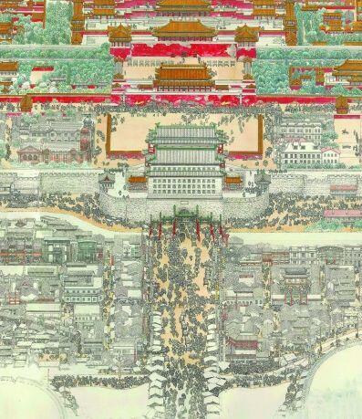 西牵白云观,南起燕墩,北抵居庸关,燕山长城,完整展示了老北京城之全貌