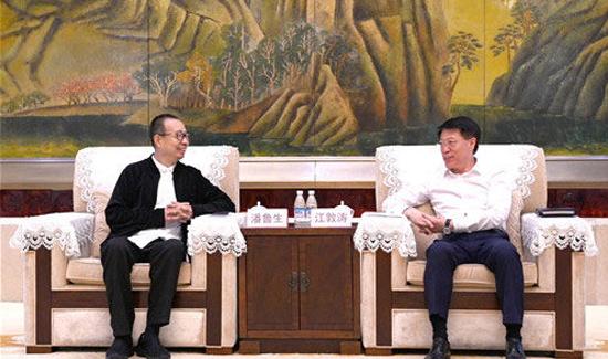 淄博市委书记江敦涛会见山东工艺美术学院和中国银行山东省分行客人